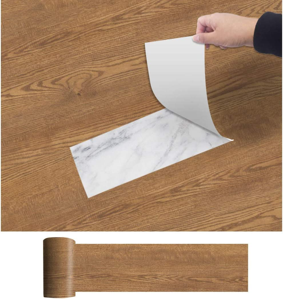 Enipate Thicken Peel and Stick Wallpaper Removable Self Adhesive Vinyl Film for Furniture Countertop ,Faux Oak Wood Grain 118 X 7.87 Inch