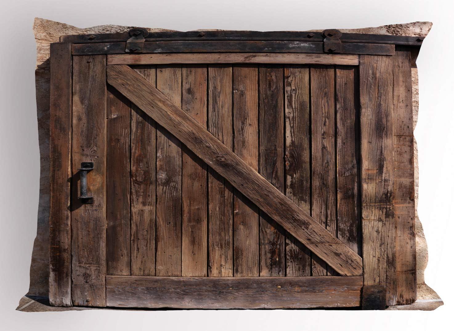ABAKUHAUS Rústico Funda de Almohada, Puerta Corredera De La Vendimia, Decorativa de Suave Microfibra Estampada Lavable, 65 X 50 cm, Marrón Beige: Amazon.es: Hogar