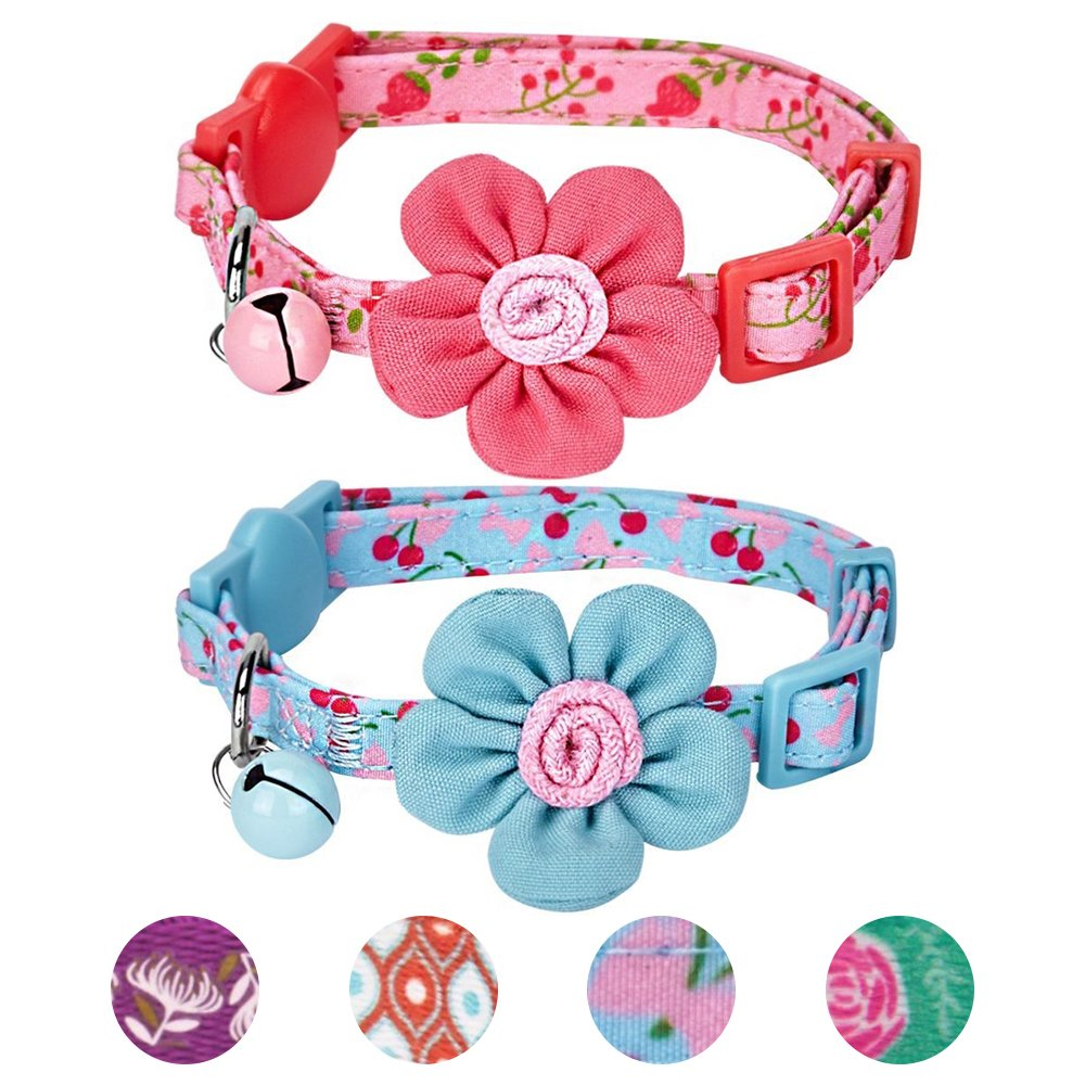 Blueberry Pet 4 Designs Pack of 2 Cat Collars, Lovely Cherry Floral Prints Adjustable Breakaway Cat Collar Flower & Bell, Neck 9''-13''