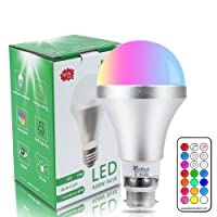 NetBoat Colour Changing Bulb B22 10W Dimmable,Netboat RGBW LED Light Bulbs Mood Lighting with 21key Remote Control,Dual Memory Function,12 Color Choices for Home Decoration Bar Party KTV Stage Effect Lights
