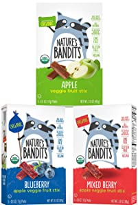 Nature's Bandits Organic Fruit & Veggie Stix Variety Pack, Blueberry/Mixed Berry/Apple, 6 Boxes (5 Bagsper Box Of 0.6oz Bags)