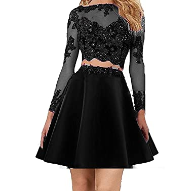 MJBridal Sheer Long Sleeve Short Homecoming Dress 2018 Two Piece Lace Satin Prom Dress Formal Gown