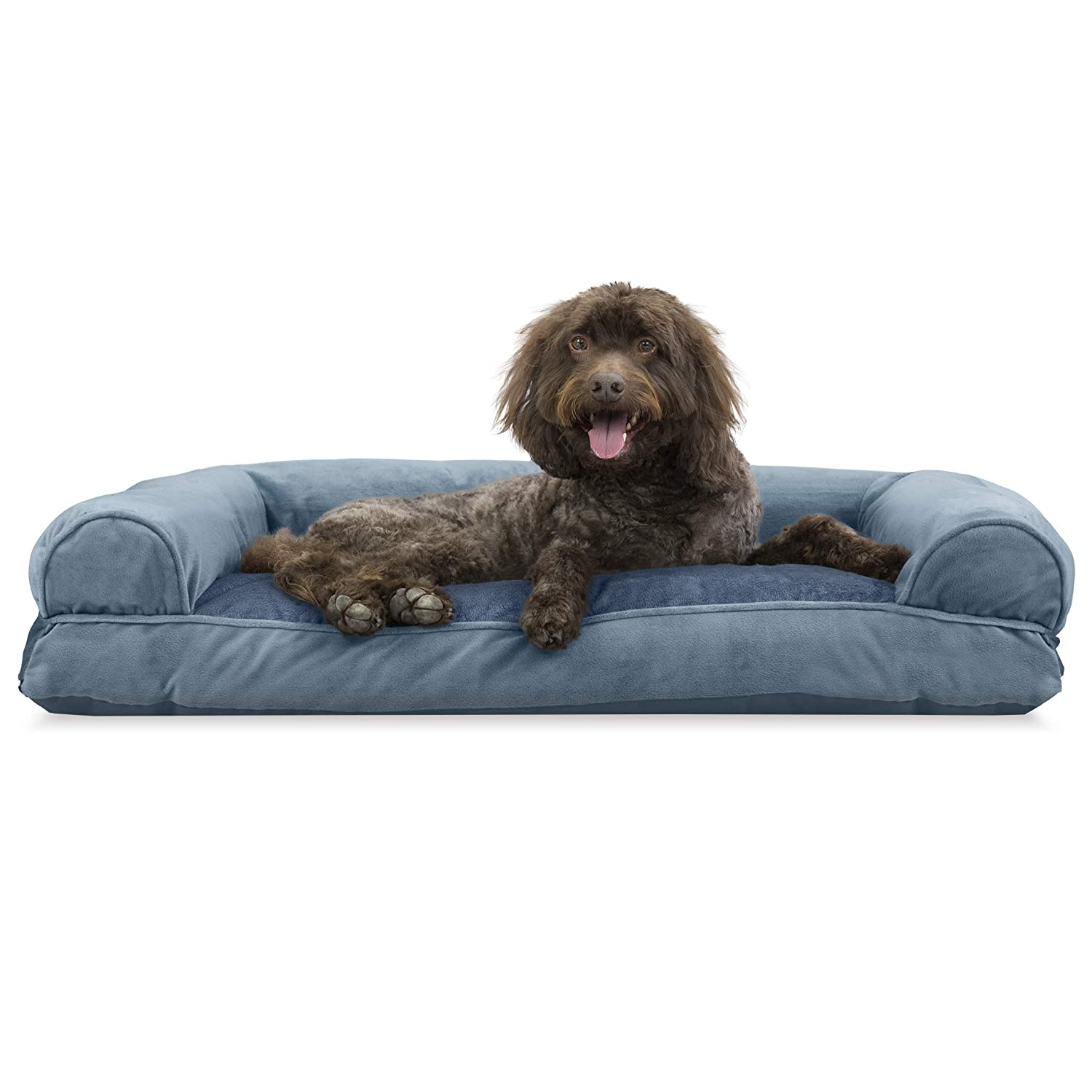 Harbor bluee L Harbor bluee L Furhaven Pet Dog Bed   Faux Fur & Velvet Pillow Sofa-Style Couch Pet Bed for Dogs & Cats, Harbor bluee, Large