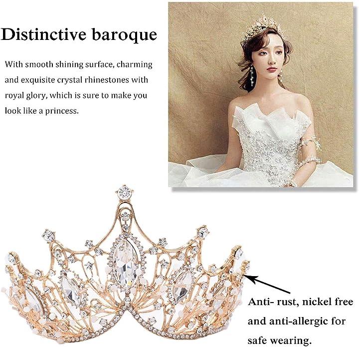 Czemo Couronne de Mariage Noir Diad/ème de Strass pour Femme Princesse Parties Pageants Bijoux de Cheveux Mari/ée pour Mariage Tiare Baroque