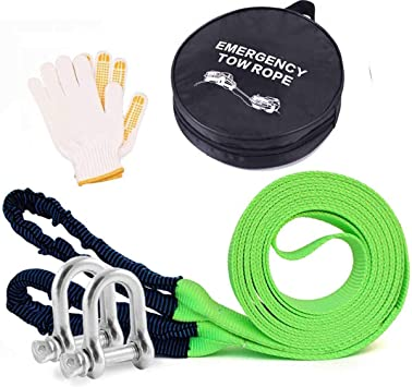 Tow Rope 12T 5m Heavy Duty Towing Pull Strap Road Recovery with Two Shackles