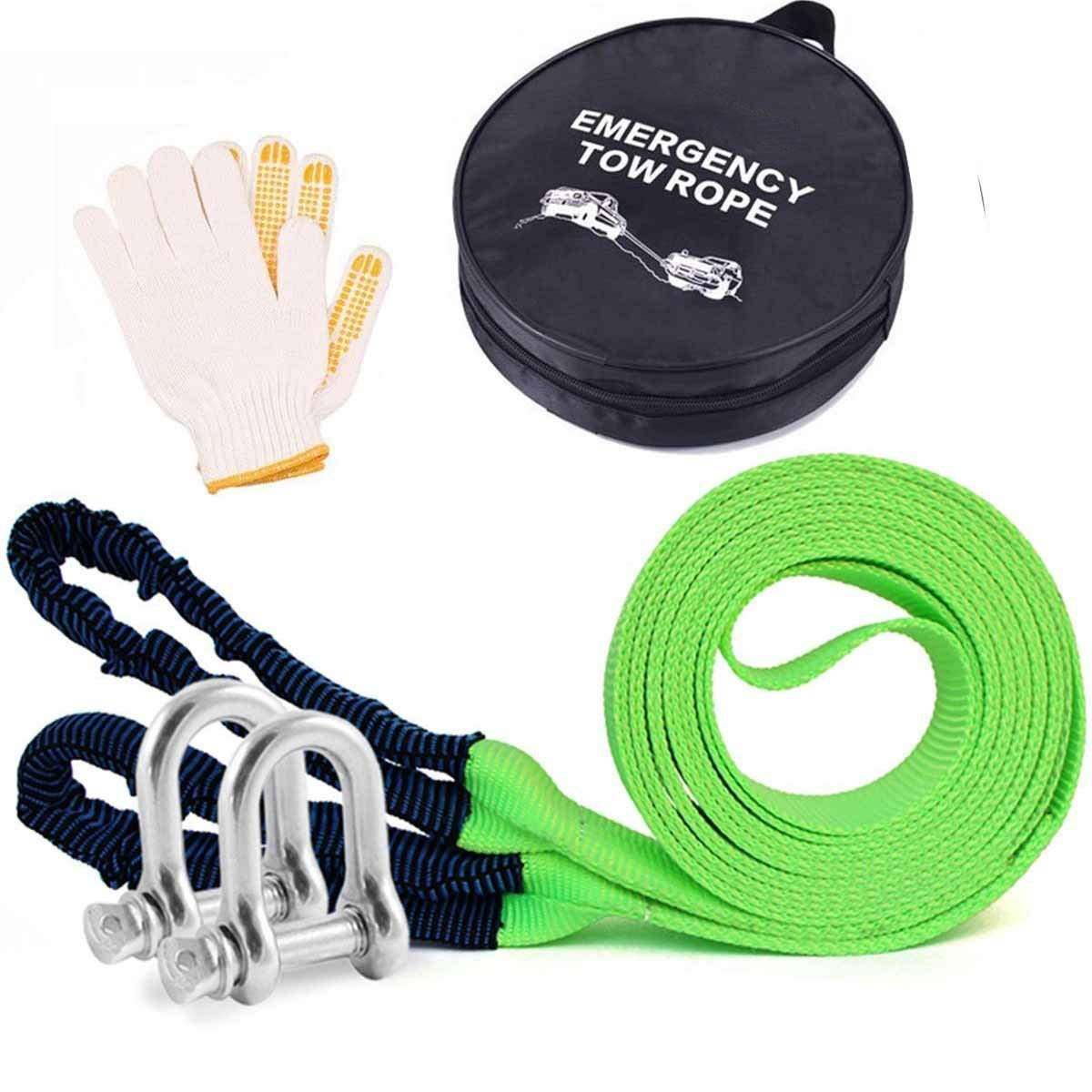 AIJIWU Tow Rope, Car Heavy Duty Recovery Tow Straps 17600Ib 8 Ton 5M With 2 hooks 2 Anti-Proof Gloves AEA group