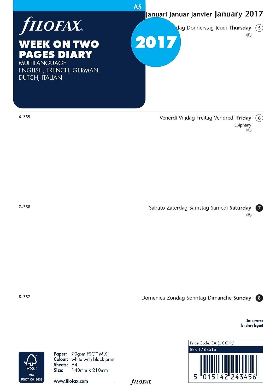 Filofax - Agenda 000017-68516 1 semana en 2 páginas, 2017 ...