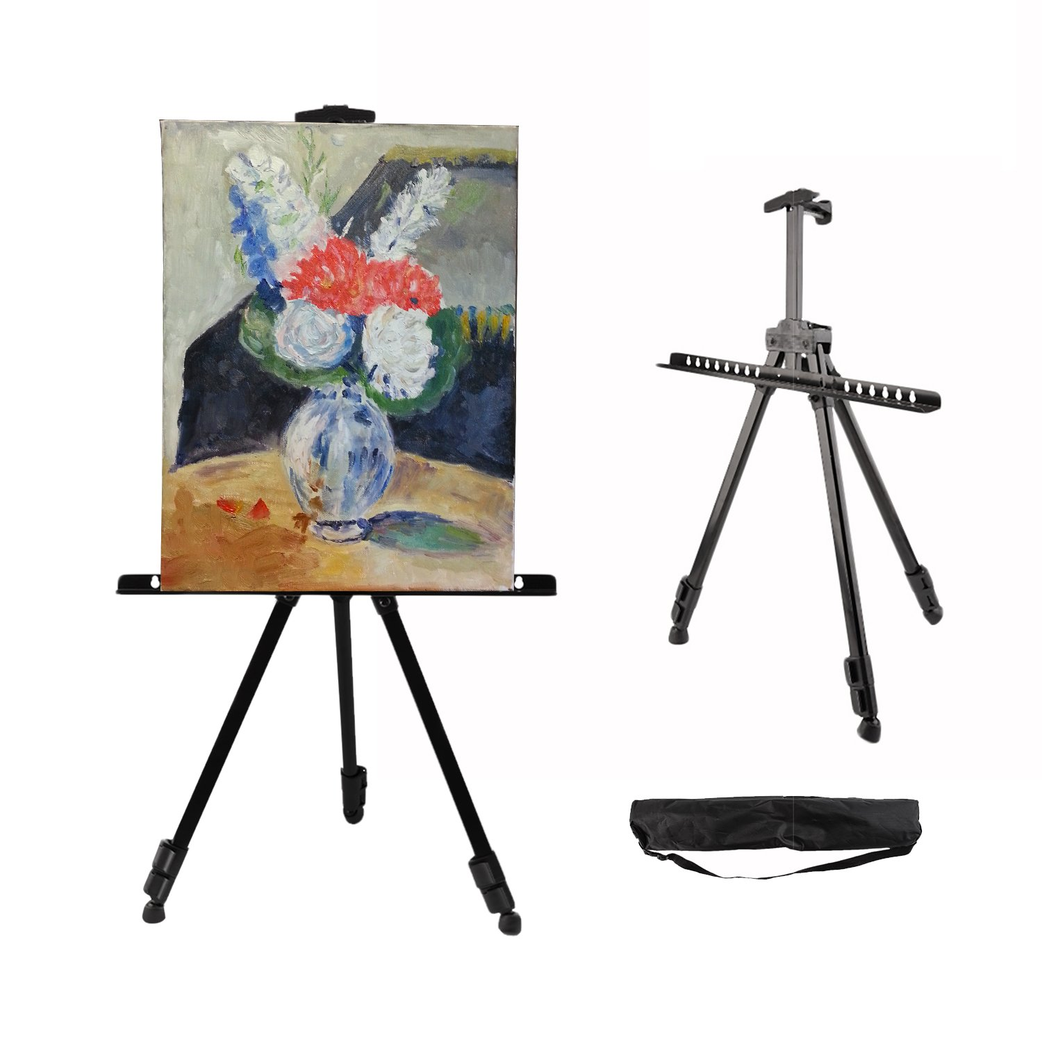 """OUTAD Art Easel63'' Easel Stand Metal Tripod Display with Portable Bag Adjustable Height 21-63""""for Posters, Kids Painting"""