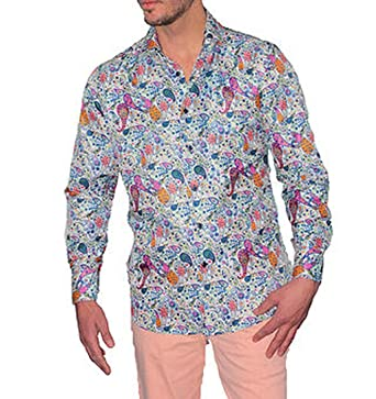 967fbf27 Suslo Couture Mens White, Pink Paisley Slim Fit Style Shirt M16 (small)