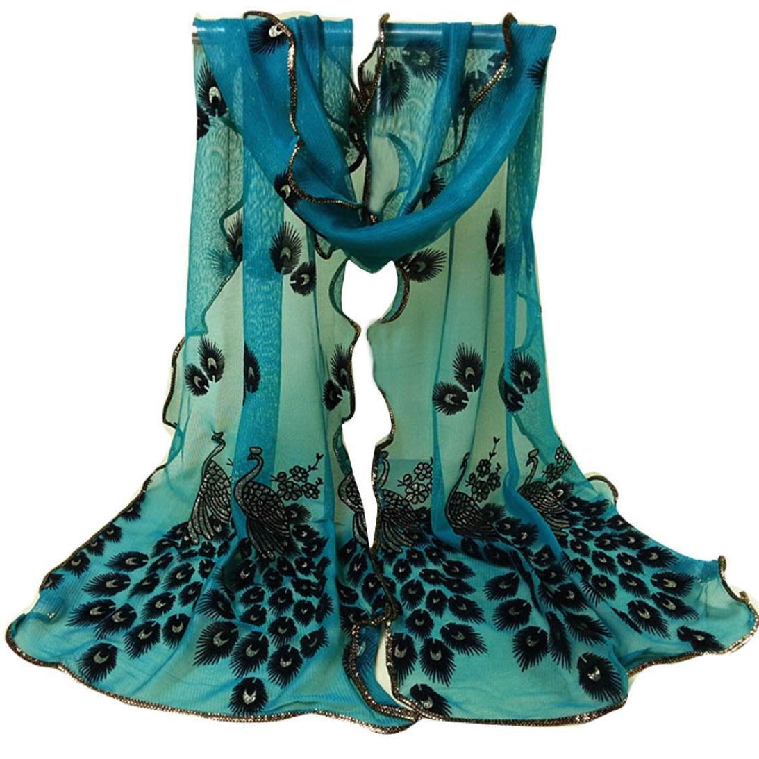 ホット、yang-yiファッションレディースピーコックフラワー刺繍レーススカーフロングソフトラップナイロンショール One Size ブルー B079BPZ7F1  グリーン One Size