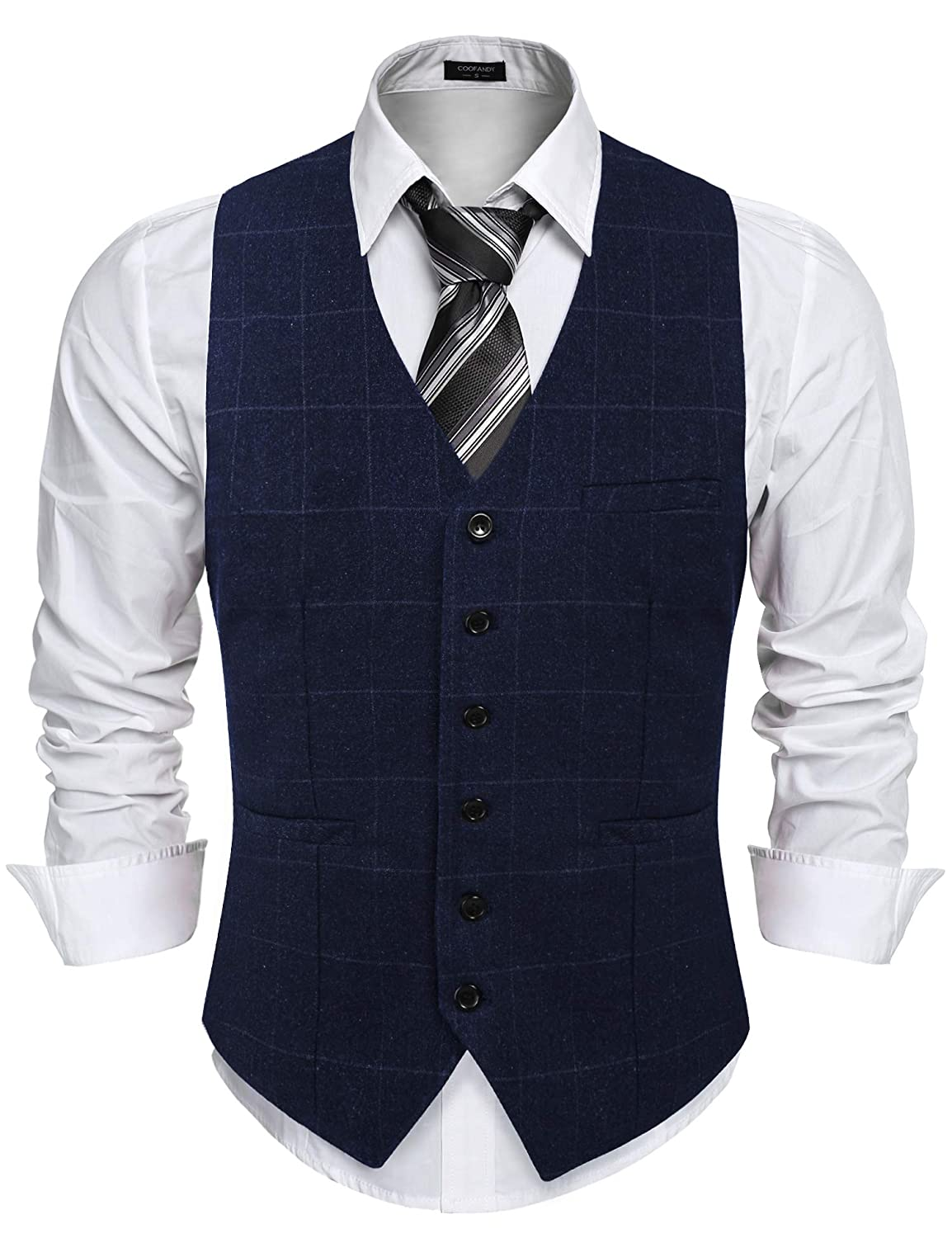 Mens Waistcoat Vest Slim Fit V Neck Formal Waistcoat Casual Retro Suit with Pocket for Wedding Business Party