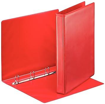 Esselte - Archivador de 4 anillas en D (A4, 25 mm), color rojo: Amazon.es: Oficina y papelería