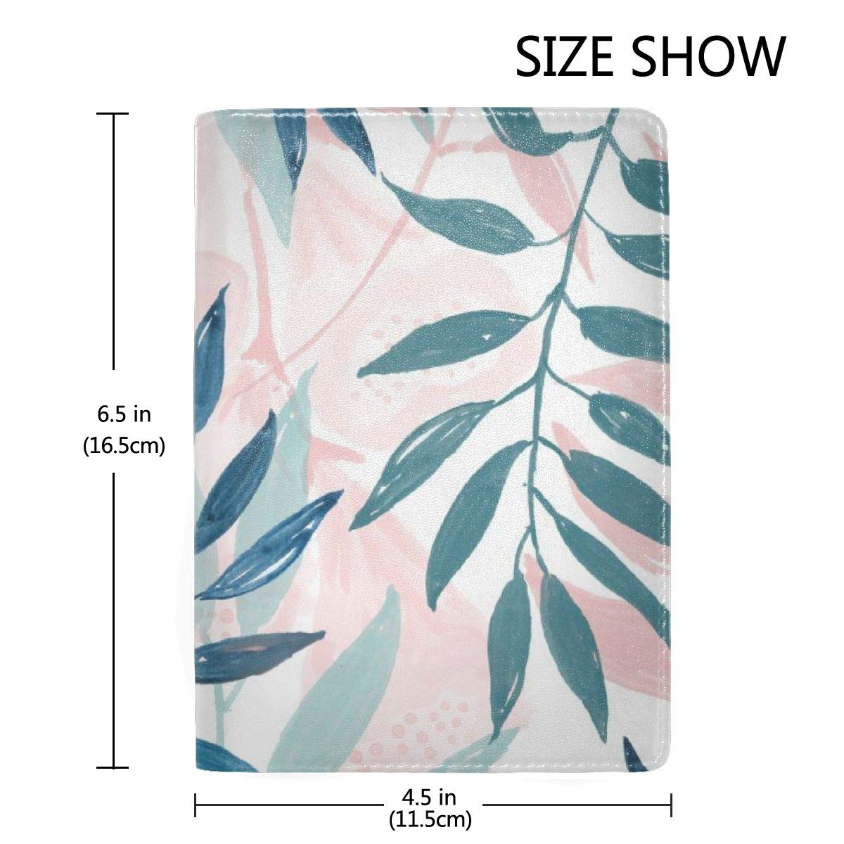 Pastel Leaves Fashion Leather Passport Holder Cover Case Travel Wallet 6.5 In