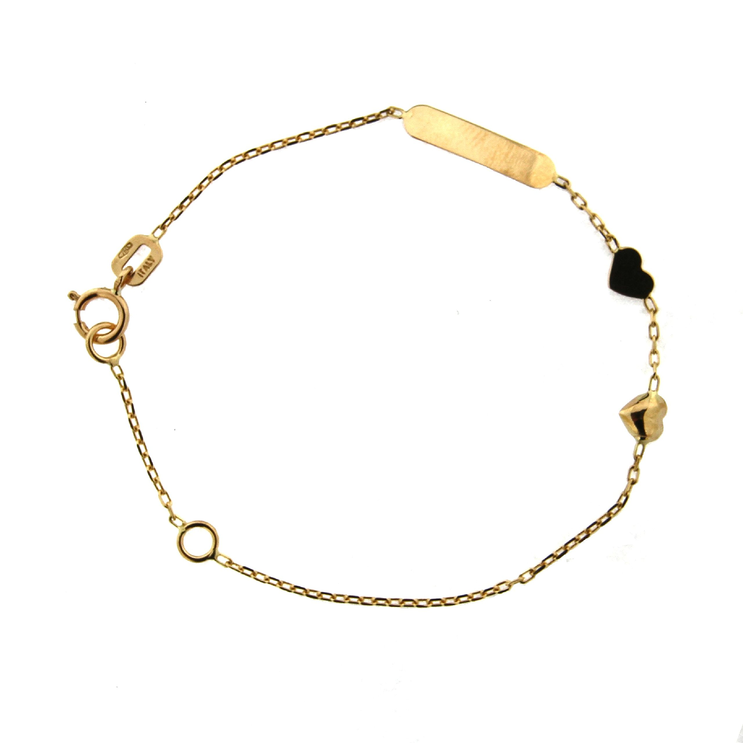 18K Yellow Gold Flat and Puffy Hearts Id Bracelet 5.60 inches with extra rin in 4.9 inch