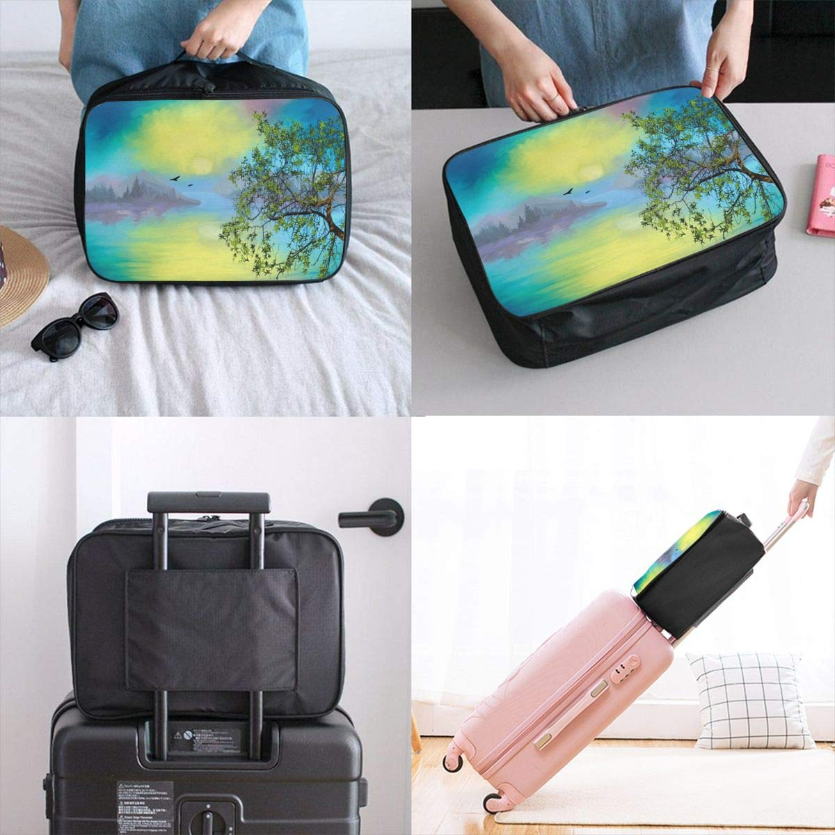 Bird Art Painting Tree Natural Sunset Travel Lightweight Waterproof Foldable Storage Carry Luggage Large Capacity Portable Luggage Bag Duffel Bag