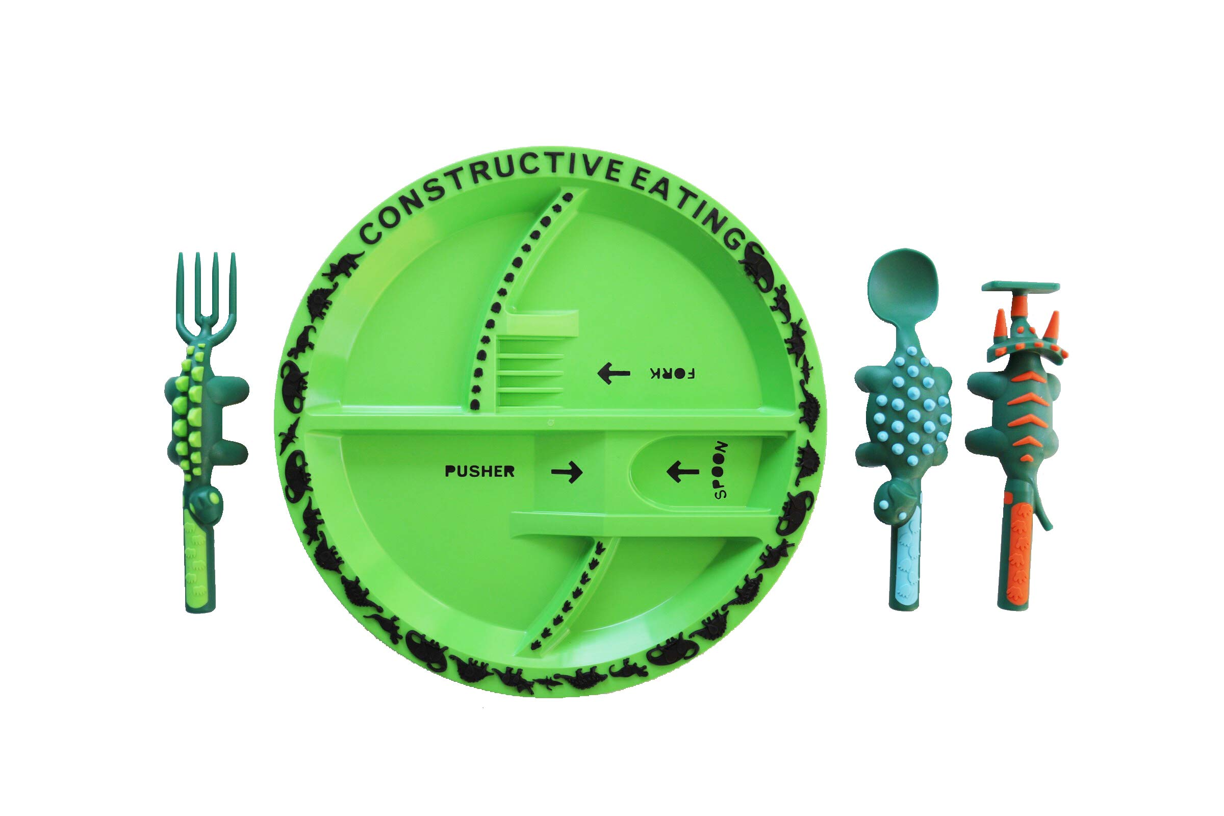 Constructive Eating Dinosaur Combo with Utensil Set and Plate for Toddlers, Infants, Babies and Kids - Flatware Set is Made with FDA Approved Materials for Safe and Fun Eating by Constructive Eating