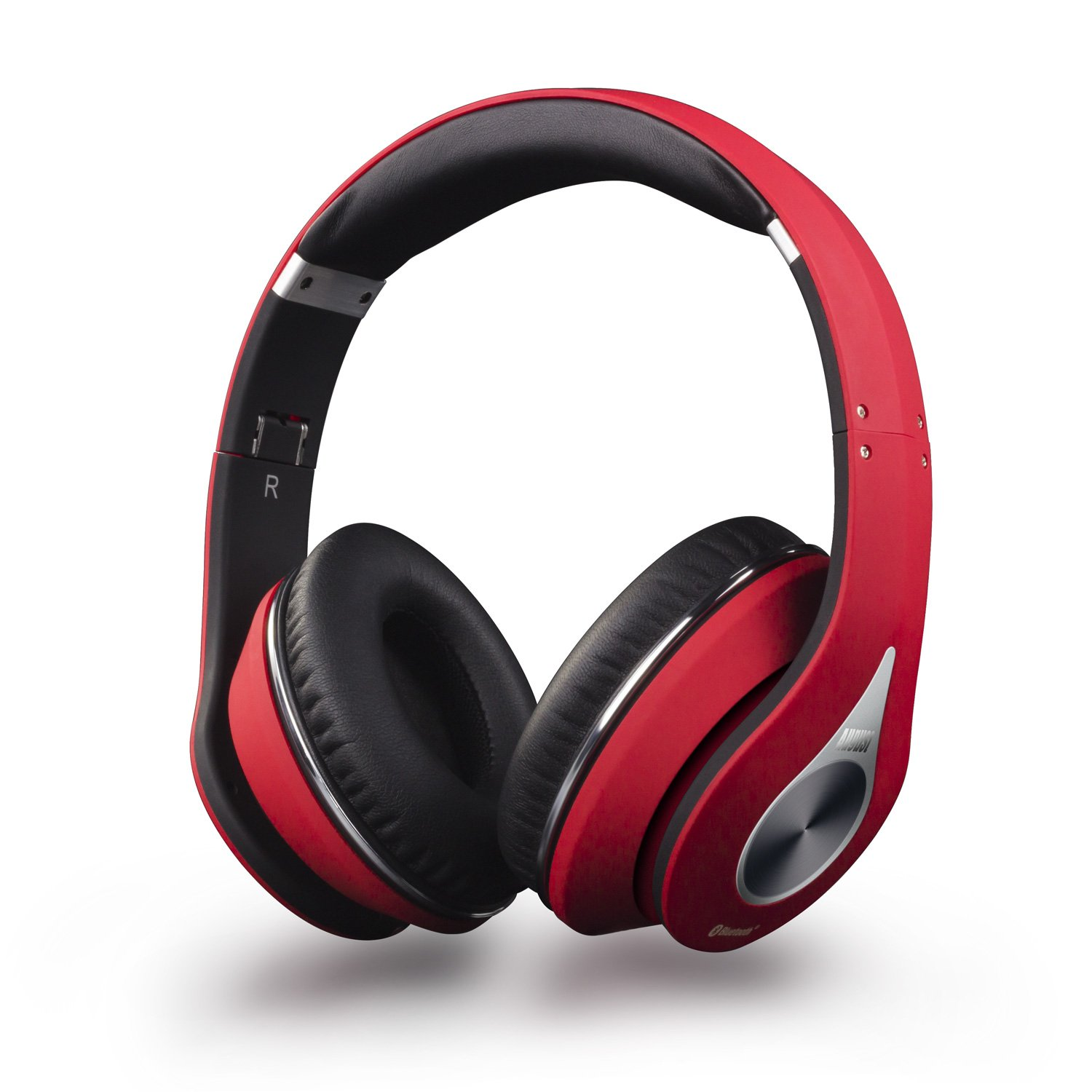 Bluetooth Headphones - August EP640 - Wireless Over Ear Headphones with aptX/NFC/3.5mm Audio In/Headset Microphone - Red