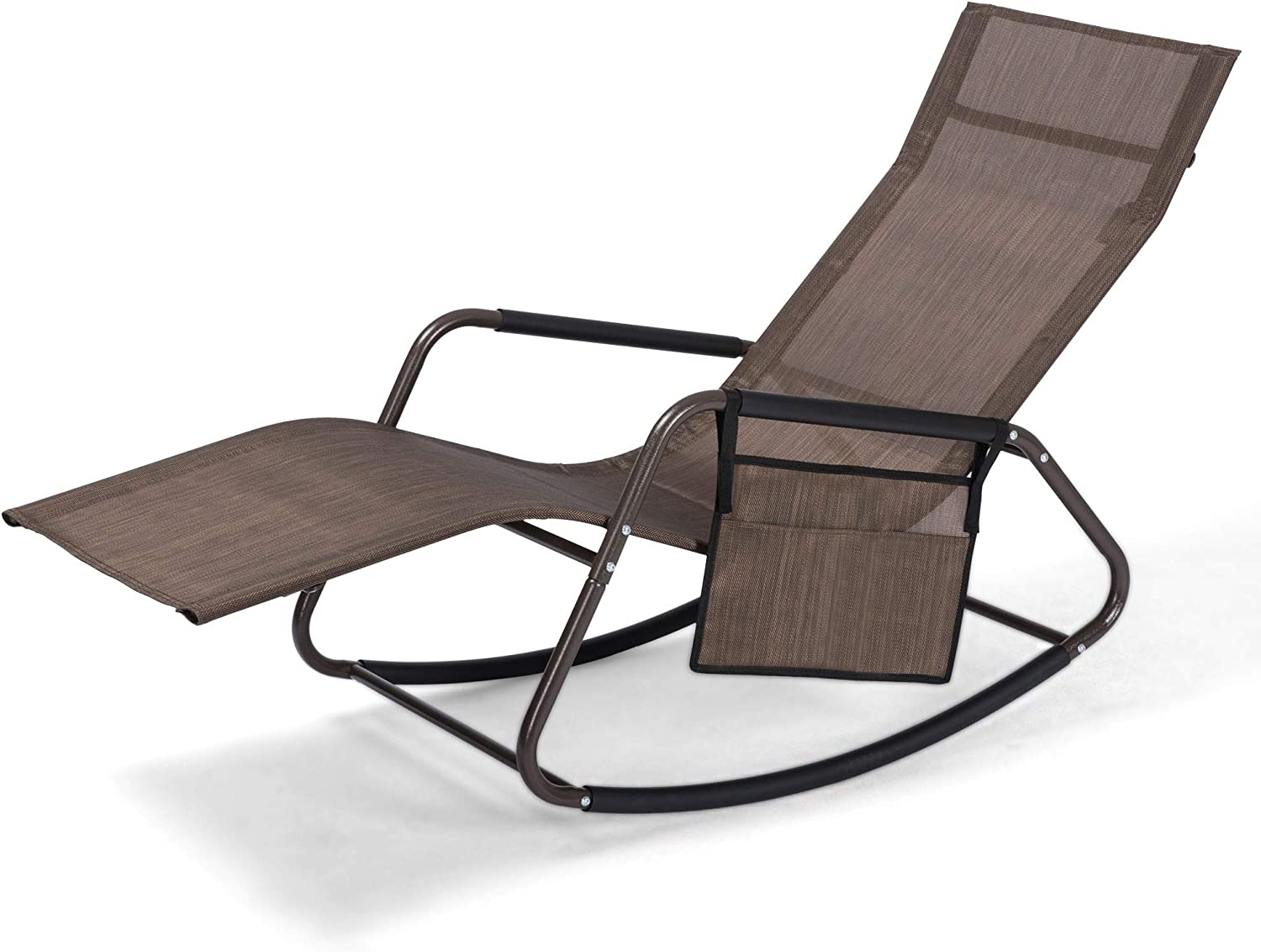 Beach Pool Reclining Lounge Chair with Pocket, Ergonomic, 265 lb Weight Capacity, Patio Lounge Chair Recliner Lawn Chair Outdoor Pool Furniture(Brown)