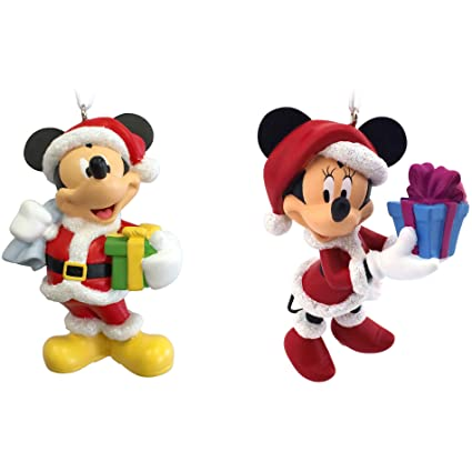 hallmark disney mickey and minnie mouse as santa and mrs claus christmas ornaments set