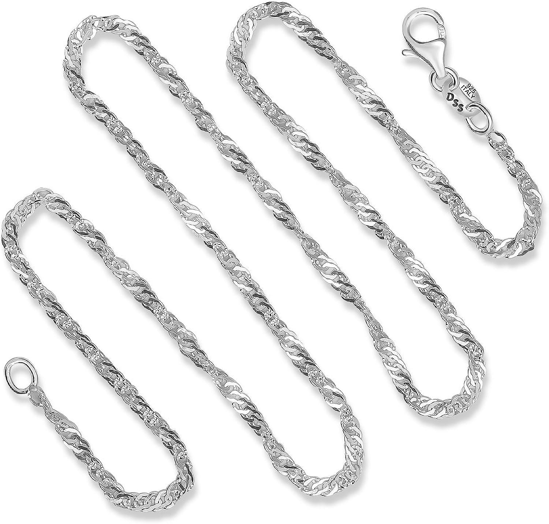 Small Tri-Color 2 mm Twist Magic Sterling Chain  .925 Pure Silver