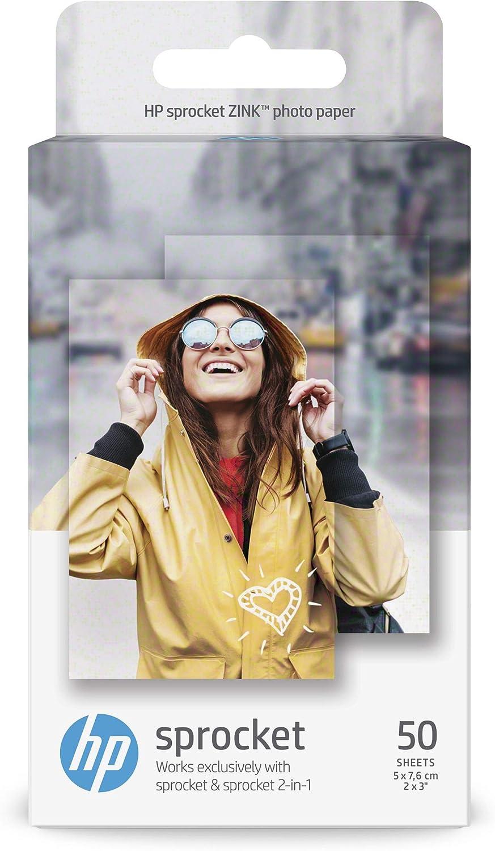 /& HP ZINK Fotopapier f/ür HP Sprocket Plus 50 Blatt, 5 x 7.6 cm, selbstklebende R/ückseite 20 Blatt, 5.8 x 8.7 cm, selbstklebende R/ückseite HP Sprocket Fotopapier