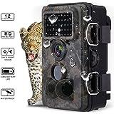 Powerextra 12MP 1080P HD Caza Trail Game Camera, 120 ° Gran Angular, 3 Zona No Glow IR infrarrojos de visión nocturna con 42pcs 940nm LED, 2,4 pulgadas de pantalla LCD, IP66 Spray impermeable de vigilancia de la fauna Cámara