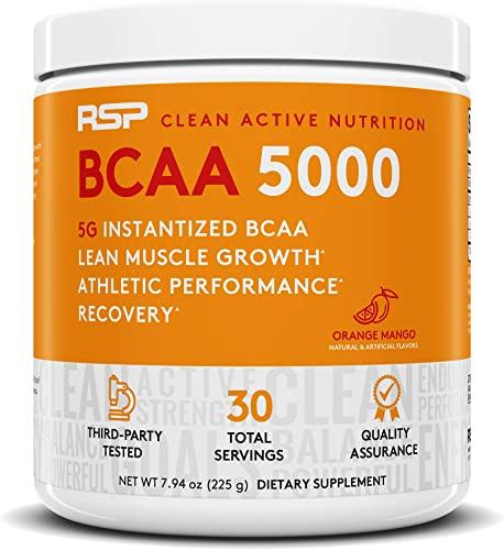 RSP BCAA 5000 30 Serv , Premium BCAA Powder for Post Workout Muscle Recovery, Endurance Energy, 5g of Essential Branched Chain Amino Acids, Orange Mango Packaging May Vary