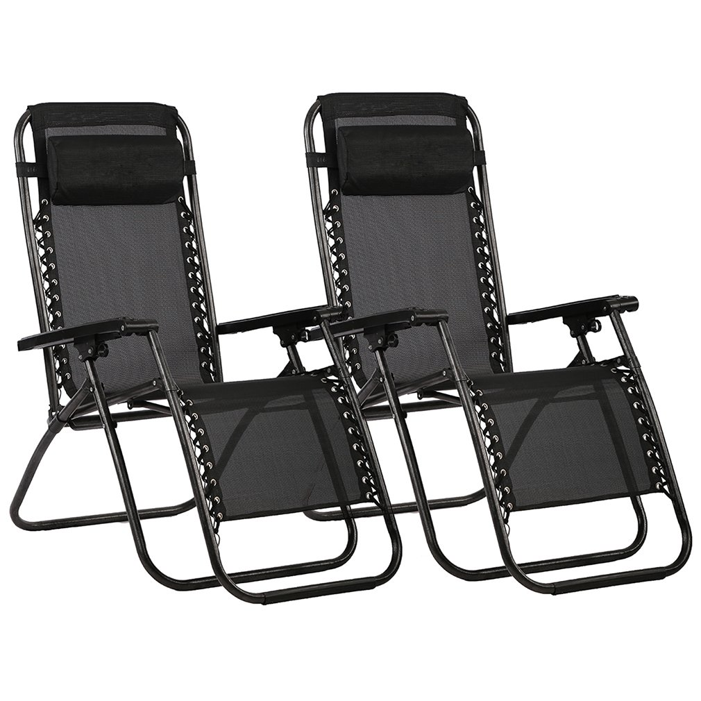 FDW Set of 2 Zero Gravity Out Door Lounge Chairs (Black)