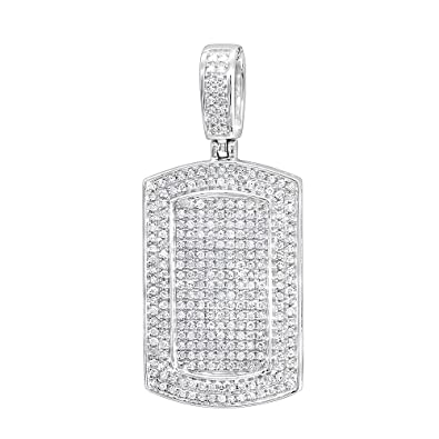 Amazon mens 10k gold small iced out diamond dog tag pendant amazon mens 10k gold small iced out diamond dog tag pendant 09ctw white gold jewelry aloadofball Image collections