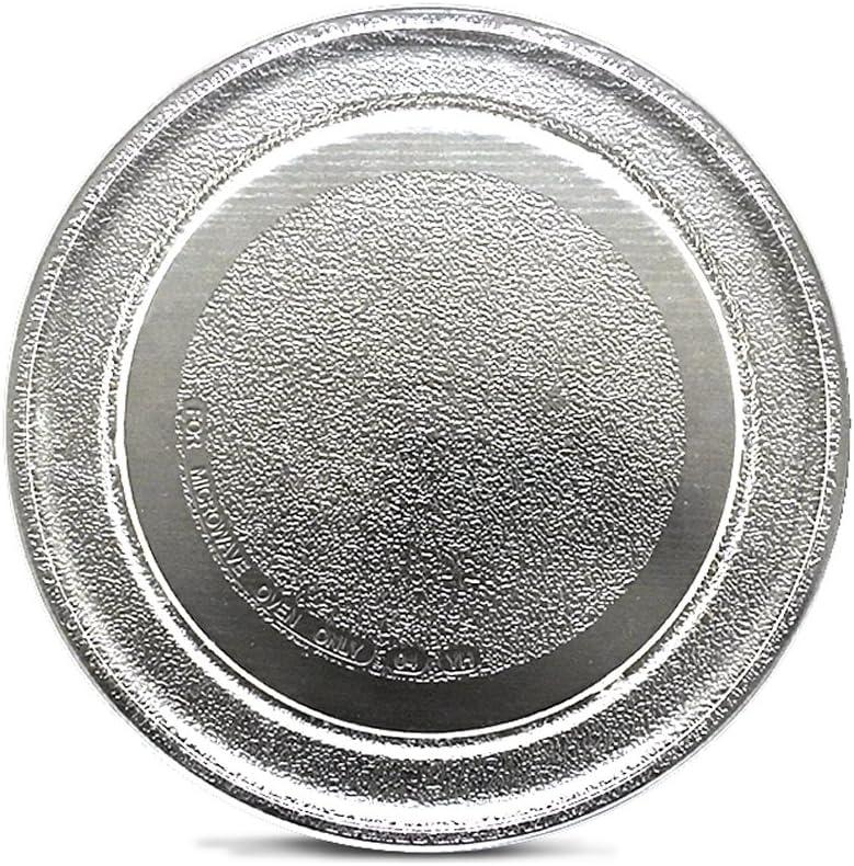 Plato de cristal para horno de microondas, plato de cristal de palé de 24,5 cm de diámetro, parte inferior plana, mesa giratoria de cristal de alta resistencia