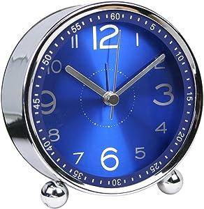chengsan 4-inch Table Clock Ultra-Quiet Metal Small Alarm Clock, Classic Retro Style Quartz Clock, Desk Cupboard Bedside Travel Alarm Clock (CS-AC06)(Blue)