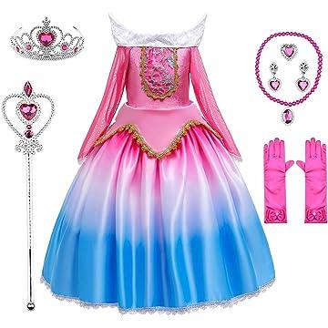Princess Snow White Aurora Costume Birthday Party Halloween Dress Up for Girls 3-12 Years