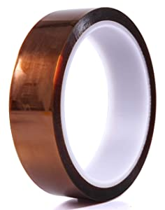 Polyimide Heat Resistant Tape/Polyimide Film Tape - High Temperatures - 1 Inch by 36 Yards, 2 mil - Great for Soldering, 3D Printing, Masking