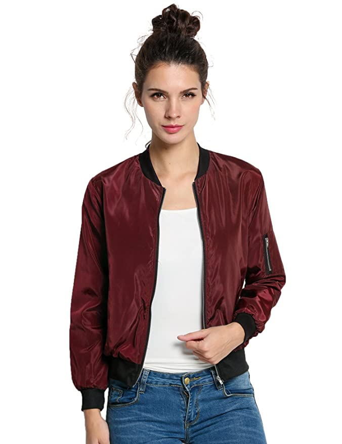 1c55fc1041d Elever Women Slim Zip Up Lightweight Biker Bomber Jacket Utility Coat Plus  Size at Amazon Women s Coats Shop