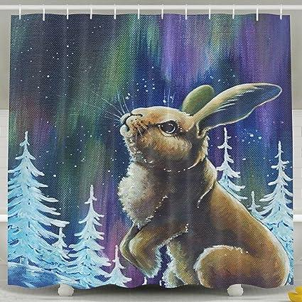 Rabbit Under Sky Shower Curtain Bathroom Decor 6072 Inch With Hooks
