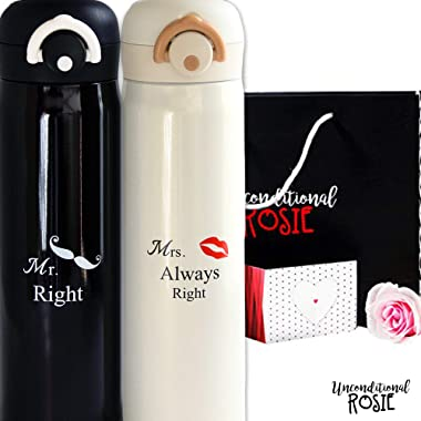 Wedding and Anniversary Gift by Unconditional Rosie - Set of Two Matching Stainless Steel Flasks. This Thermo Set Comes in a Gift Box. Funny, Unique, and Personalized Couples Gifts for Him and Her