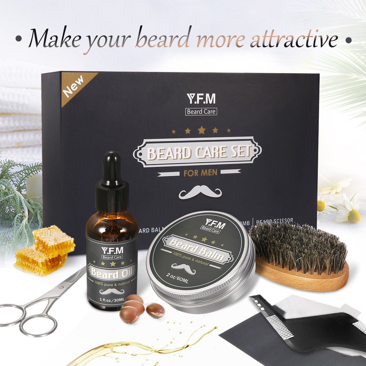 Beard Care Set for Men Y.F.M Mustache Grooming Trimming Set - Beard Oil, Beard Balm, Beard Brush, Beard Comb, Stainless Barber Scissors - Best Birthday, Father's Day Gift Set Father's Day Gift Set Luckyfine