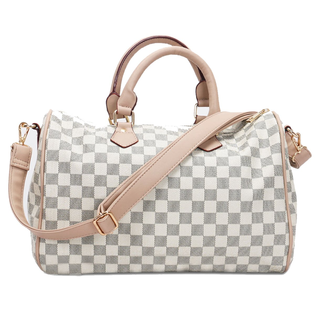 98dfb5680a Fashion Bazaar Designer Style Check Shoulder Bags - Faux Leather Tote -  Barrel Style Gym Weekend Duffel Travel Bag - Checked Handbag with Coin Purse  (Barrel ...