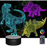 AMIVOO 3 in 1 Dinosaur 3D Night Lights for Kids 16 Colors Changing Dimmable Bedside Lamp with Remote Control, Dinosaurs…