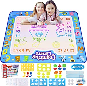 Ordenado Aqua Magic Writing Doodle Mat, 4032 Inches Large Water Drawing Board, Colorful Painting Mats with 40 Accessories for Kids, Toddlers Educational Toys Girls&Boys