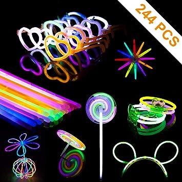 PITAYA Pulseras Luminosas,Varitas Luminosas para Fiestas con Conectores, Kits para Crear Gafas, Pulseras triples,Collares,Bola Luminosa,Diadema,Flores(244 en Total): Amazon.es: Juguetes y juegos