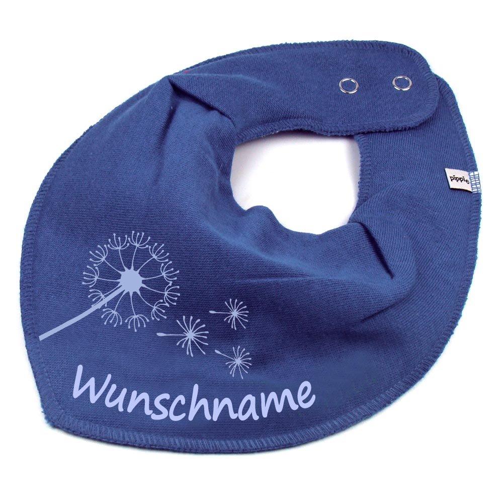 HALSTUCH PUSTEBLUME mit Namen oder Text personalisiert khaki f/ür Baby oder Kind