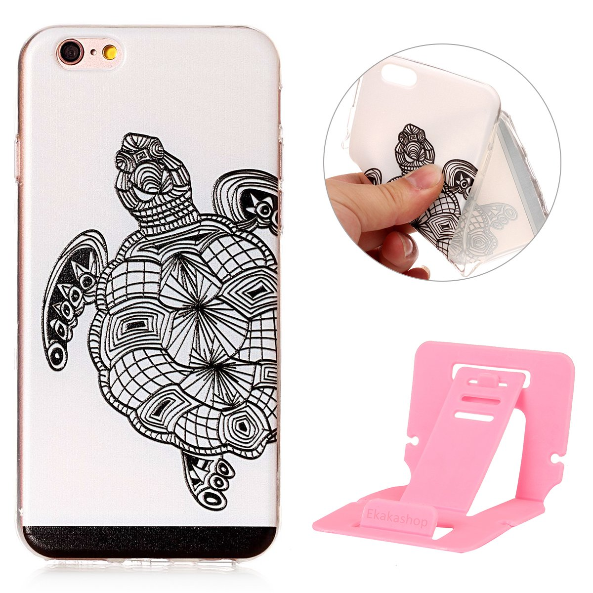 Ekakashop iPhone 6 Plus Funda Silicona,TPU Bumper Case para iPhone 6s Plus, Ultra Fina Delgado Slim Hermoso Patró n Tortuga Transparente Carcasa para Apple iPhone 6 Plus / 6S Plus 5.5 '' kaka037965