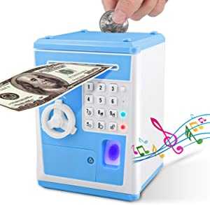 Lefree ATM Savings Bank,Money Bank with Electronic Auto Scroll Paper Cash,Simulate Fingerprint ATM Piggy Bank for Real Money,Alarm Clock and Broadcast Time's Money Safe for Kids.