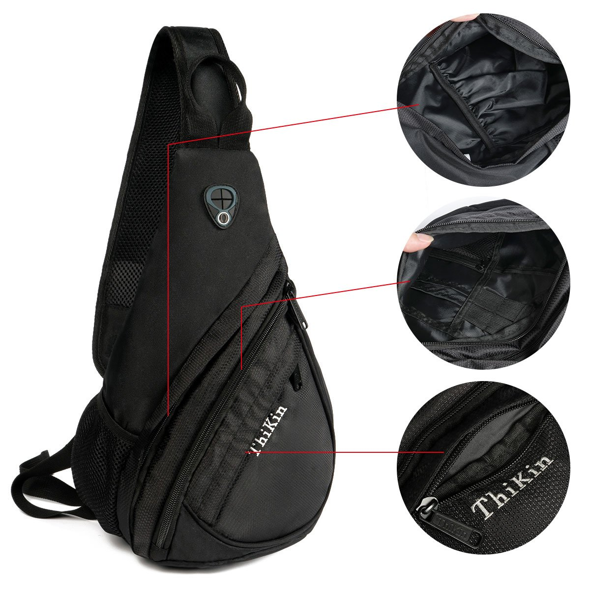 70b33b8bad75 Amazon.com   Sport Nylon Sling Bag Shoulder Back Packs Grey Cross Body  Chest Bags for Men   Sports   Outdoors