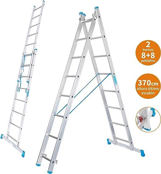 Escalera Transformable 2 Tramos 8+8 Peldaños Plegable Super Resistente hasta 150Kg de Acero y Aluminio con relieves Antideslizantes para Altura de Trabajo hasta 457cm - Packer PRO: Amazon.es: Hogar