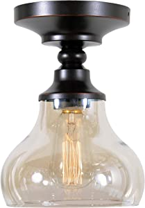 Kenroy Home Rustic 1 Light Flush Mount ,10 Inch Height, 7 Inch Diameter with Oil Rubbed Bronze with Amber Glass