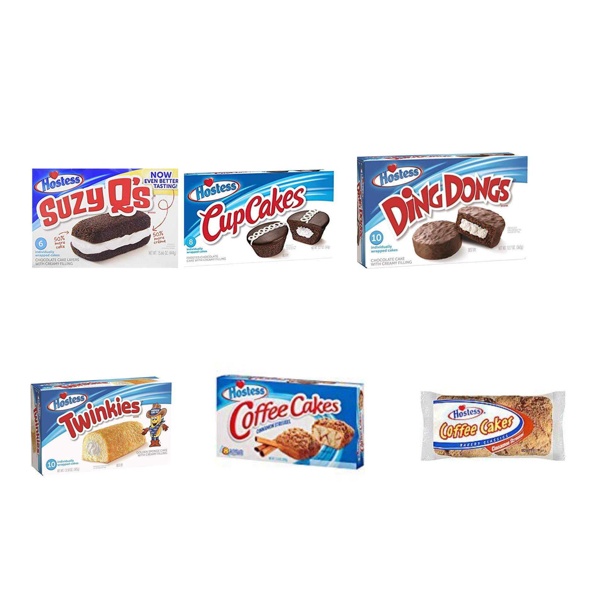 Hostess Cakes Bundle - Suzy Q, Cupcake, Ding Dong, Twinkie, and Coffee Cake Cinnamon BONUS 2 Packs of Individual Coffee Cake by Hostess