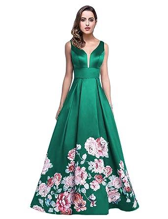 bb8008bc6a6c JoJoBridal Women's A Line Long Floral Evening Dresses Sleeveless V Neck  Formal Gowns Green 02