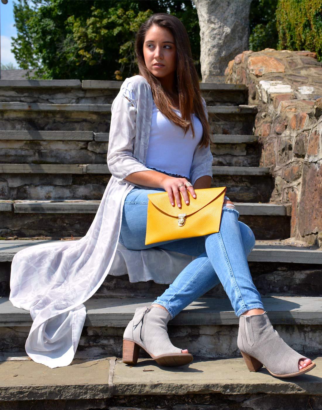 HDE Women's Fashion Cross Body Gold Buckle Purse Vegan Leather Envelope Handbag by HDE (Image #3)